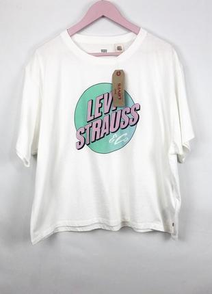 Классная хлопковая оверсайз футболка с крутым логотипом от levis