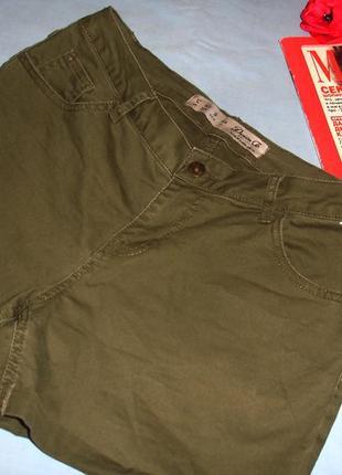 Шорты женские короткие цвета хаки размер 46 / 12 новые стрейчевые шортики летние