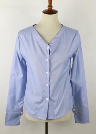 Распродажа. новая голубая рубашка, размер м, с v-образным вырезом
