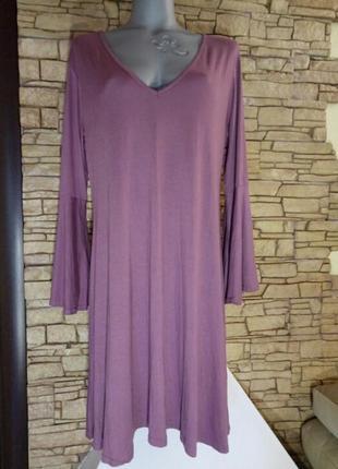 Скидка!《пыльная роза》,цвет в тренде года!трикотажное платье батал