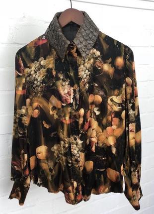 Новая дизайнерская блуза блузка рубашка 100% шёлк с воротником из натуральной кожи