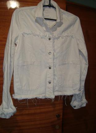 Котоновая куртка  от zara с бахромой