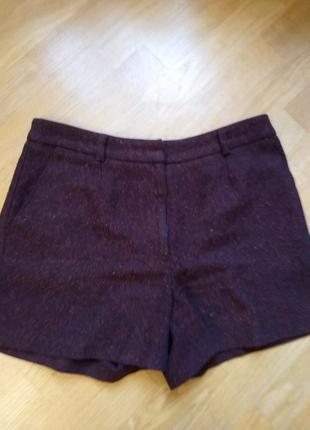 Теплые кашемировые шорты бордо