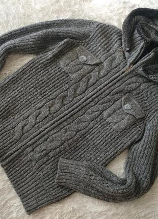 Очень теплый мужской свитер пайта с капюшоном