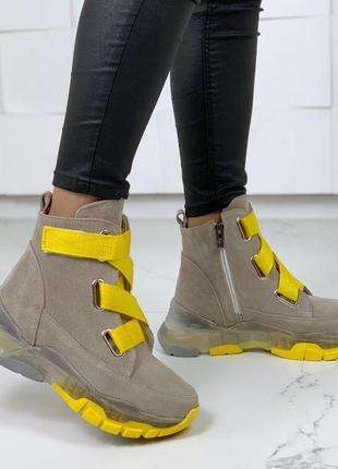 Зимние замшевые ботинки,демисезонные высокие ботинки из натуральной замши.