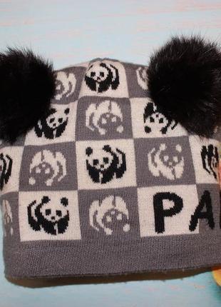 Класная шапуля панда на 8-12лет