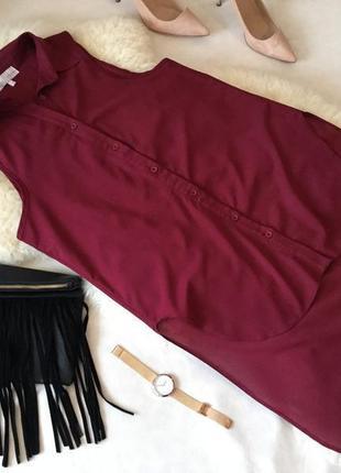 Мега роскошная с удлиненной спинкой рубашка блуза цветом марсала ...💄❤️💋