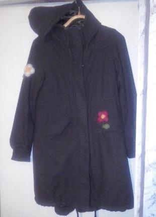 Шерстяная парка пальто цвета хаки на посдстежке из синтепона 2 в 1 h&m 10-12 размер3