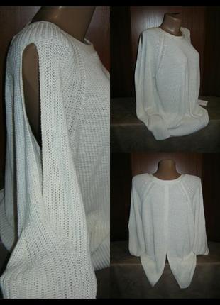 Объемный свитер крупная вязка с открытым плечом кофта реглан полувер джемпер женский
