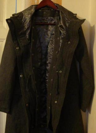 Шерстяная парка пальто цвета хаки на посдстежке из синтепона 2 в 1 h&m 10-12 размер1