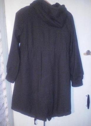 Шерстяная парка пальто цвета хаки на посдстежке из синтепона 2 в 1 h&m 10-12 размер2
