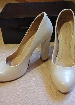 Туфли свадебные айвори натуральная кожа