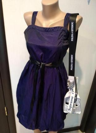 Стильное коктейльное платье мини чернильно-фиолетовое хамелеон