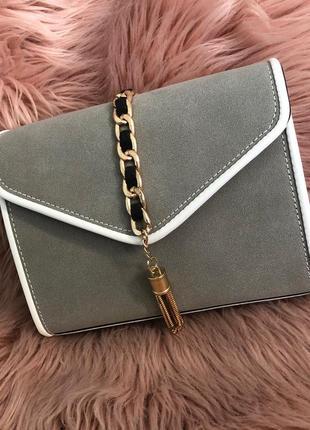 Новая небольшая сумка клатч серого цвета