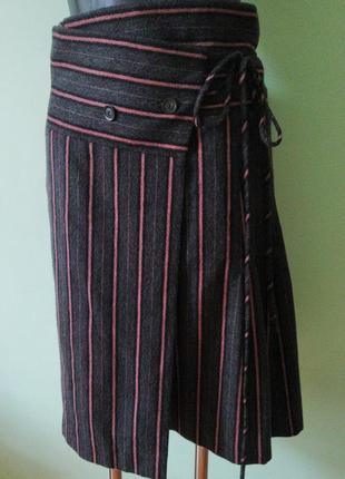 Шикарная натуральная брендовая юбка в полоску на запах kenzo(80% шерсть, 20% ангора)