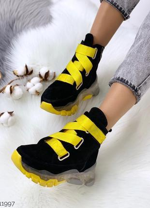 Зимние замшевые ботинки,демисезонные высокие ботинки из натуральной замши, чёрные ботинки