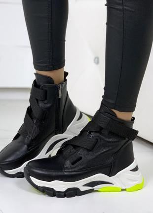 Зимние кожаные ботинки,демисезонные высокие ботинки из натуральной кожи,чёрные ботинки