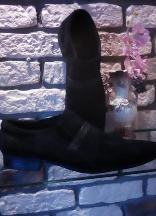 Туфли демисезонные  чёрные натуральный замш, 43р, 400грн