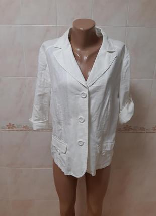 Белый льняной пиджак жакет biaggini