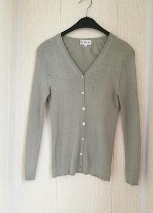 Стильная шелковая блуза фактурной вязки на пуговках  soie pour soi