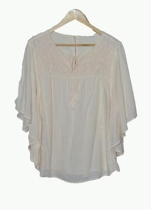 Романтичная блуза с вышивкой, рукав летучая-мышь