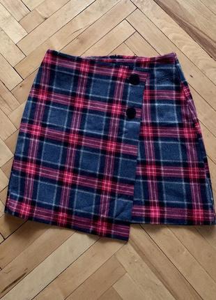 Тёплая юбка шотландка на запах h&m