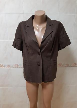 Коричневый льняной пиджак жакет biaggini