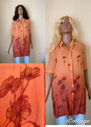 Удлиненная шелковая блуза шелк натуральный с градиентом цвета alba moda