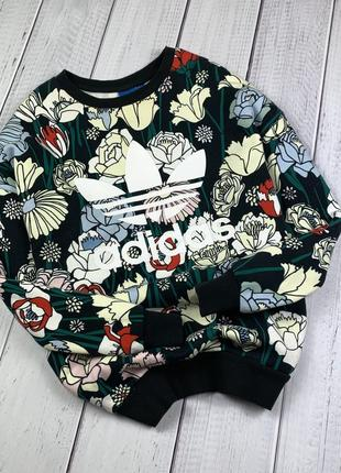 Худи adidas original m-l женская кофта в цветок оверсайз