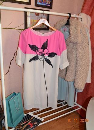 Платье оригинал miu miu прямого фасона с вышивкой паетками р.36-38
