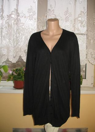 Кардиган/кофта длинная черная размер 40/48/l  5% шерсть