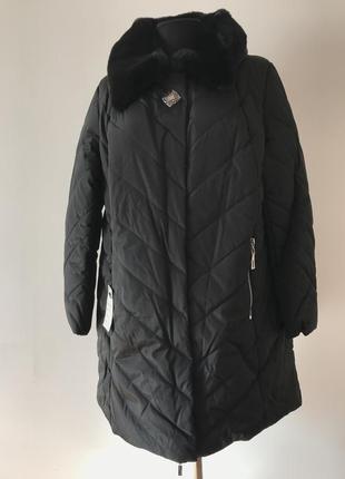 Divo чорна зимова куртка брошка (мех мутон)