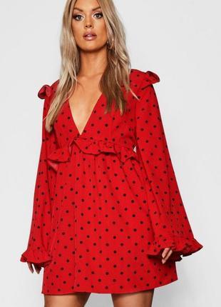 Оригинальное красное платье в горох от boohoo  размер 18uk