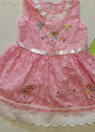 Розовое нежное платье с цветочками, 6 - 12 месяцев