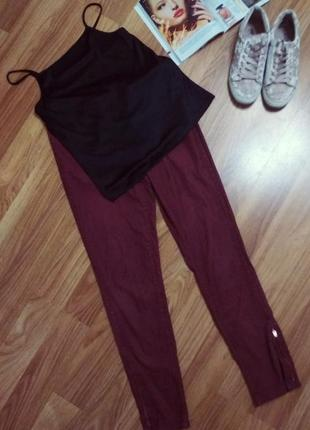 Вельветовые бархатные штаны бордовые марсала