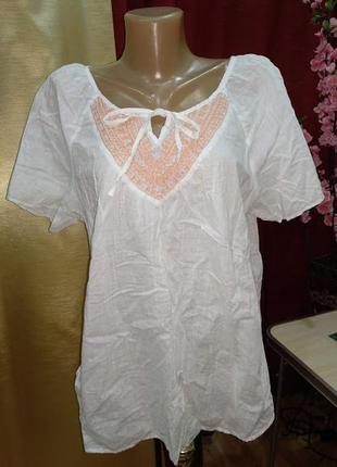 Хлопковая блуза рубашка с вышивкой h&m р/ 16 175/104
