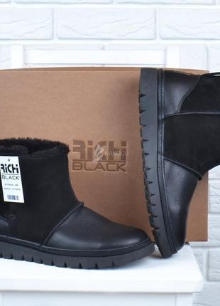 Vip угги мужские зимние кожаные richi black на липучке черные сапоги