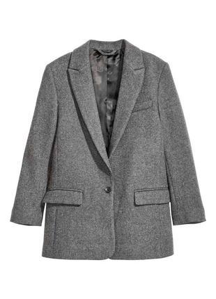 Серый удлиненный базовый пидажак оверсайз, однобортный