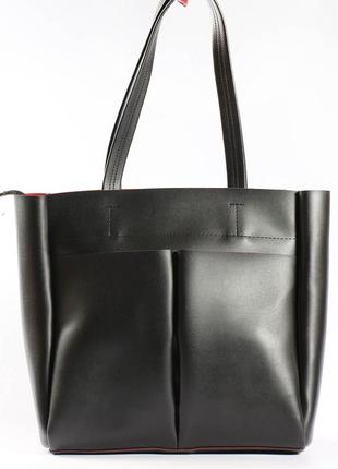 Вместительная сумка-шоппер из экокожи