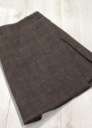 Плотная юбка -шорты в клетку