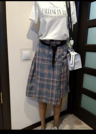 Отличная стильная брэндовая юбка трапеция тёплая из натуральной шерсти
