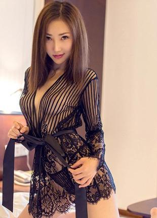 43 женский кружевной халат/ сексуальный халатик