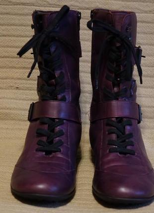 Отменные комфортные кожаные полусапожки баклажанного цвета mephisto франция 40 р.