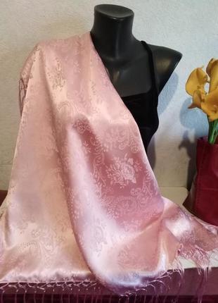 Натуральный фактурный шелк, нежно-розовый, зефирный платок с бахромой, 77*76