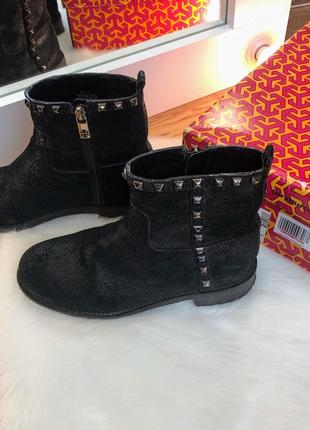 Tory burch чёрные демисезонные сапоги полусапожки ботинки натуральная кожа оригинал