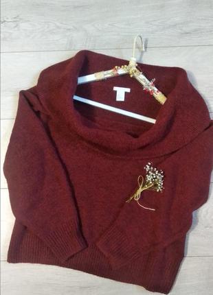 Стильный вязанный свитер  с открытыми плечами h&m