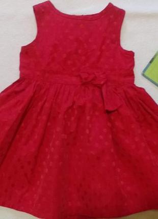 """Красное нарядное платье в горох """"marks&spencer"""", 6-9 месяцев, 72 см"""
