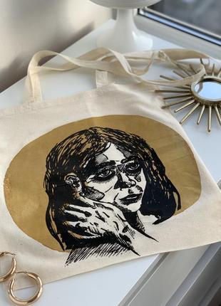 Шикарная эко-сумка с золотистым принтом