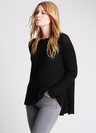 Оригинальный двойной свитер с разрезом на спине marks&spencer шерстяной черный джемпер