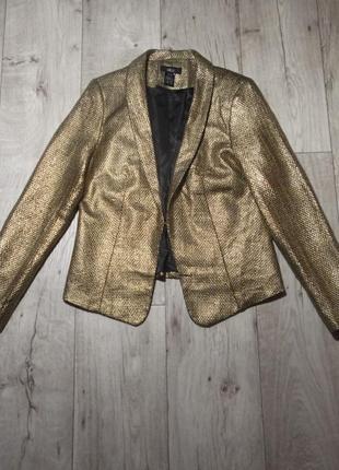 Нарядный золотой, золотистый пиджак, жакет ellos, швеция, р.m-l